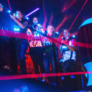 Laser tag group positioned on 2nd level catwalk