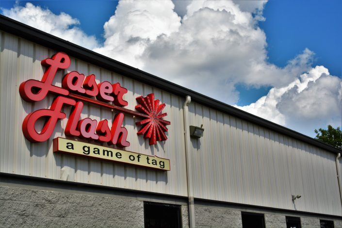 Laser Flash, Indy's Premier Laser Tag & Event Facility, front exterior with sign