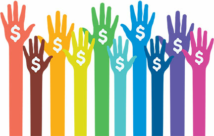 rainbow color fundraising hands